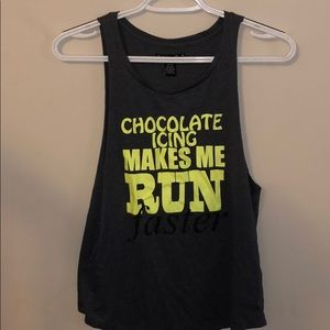 Chocolate icing makes me run faster muscle tank